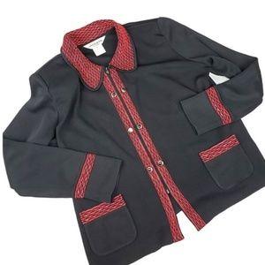 Exclusively Misook Black & Red Zip Up Blazer